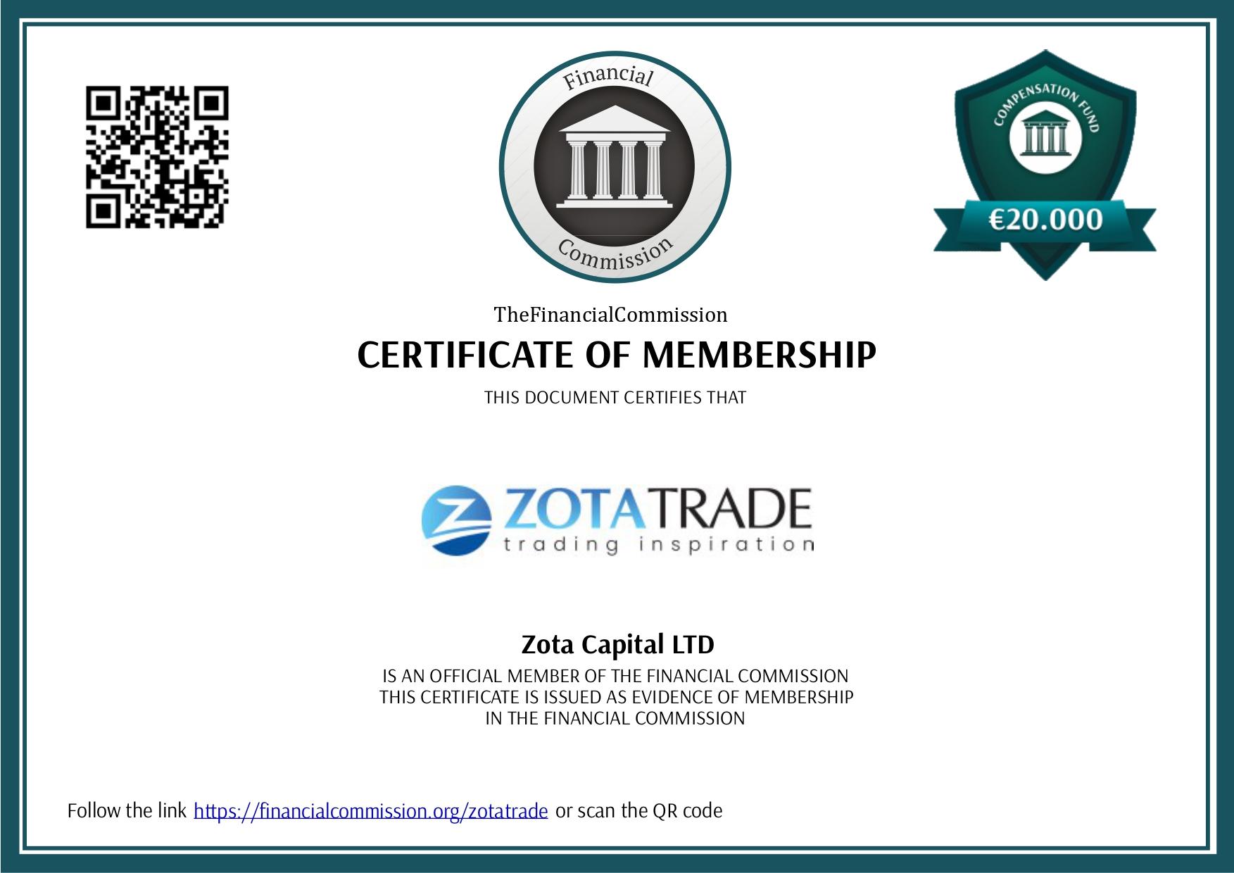 Сертификат The Financial Commission.